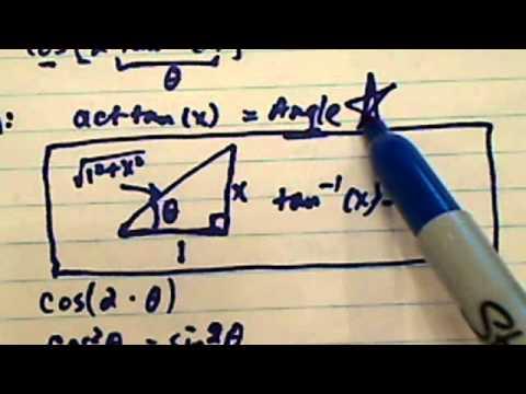 Simplify a trig expression cos(2tan-1(x)). The 2tan-1 is 2arctan?