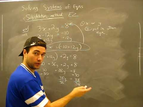 Solving Systems of Equations: Substitution Method Pt2 Algebra Math Help