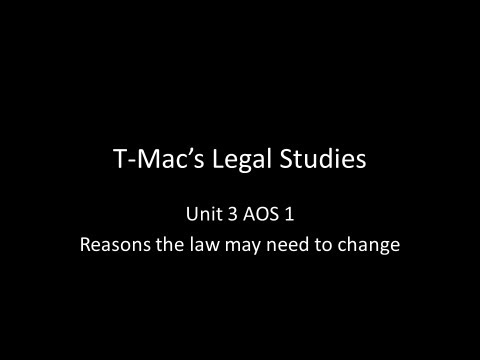 VCE Legal Studies - Unit 3 AOS 1 - Reasons the law may need to change