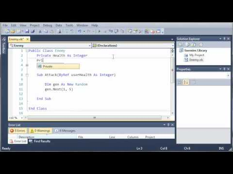 Visual Basic Tutorial - 145 - Game Part 1   Class Libraries