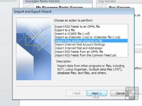 Outlook 2010 Tutorial - Importing Contact Information from Outside of Outlook
