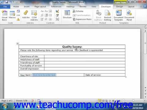 Word 2010 Tutorial Creating a Form Microsoft Training Lesson 21.3