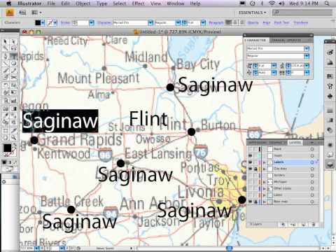 Part 7 of 9: Adobe Illustrator map tutorial CITY DOTS & LABELS