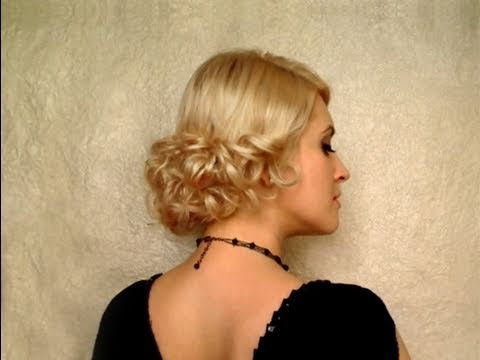 Wedding hairstyle for short hair Curly prom hairdo Easy updo for medium long hair