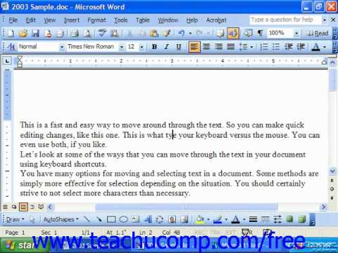 Word 2003 Tutorial Overtype Mode Microsoft Training Lesson 2.13