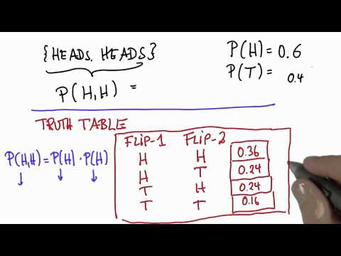 Two Flips 4 - Intro to Statistics - Probability - Udacity
