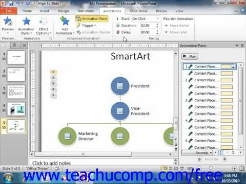 PowerPoint 2010 Tutorial Adding Object Animation 2010 Only Microsoft Training Lesson 10.2