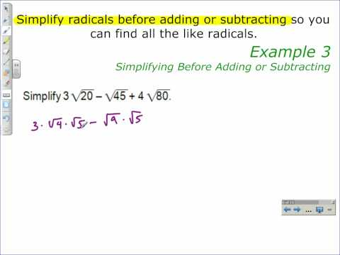 Simplifying Before Adding or Subtracting
