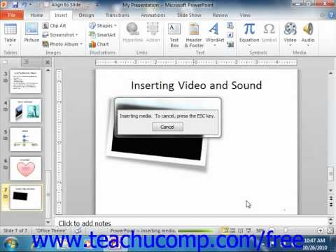 PowerPoint 2010 Tutorial Inserting Audio Microsoft Training Lesson 12.2