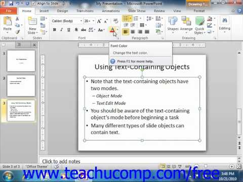 PowerPoint 2010 Tutorial Font Formatting Microsoft Training Lesson 4.3