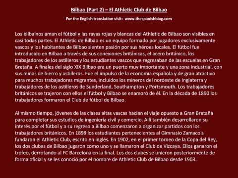 Spanish English Parallel Texts Bilbao (Part 2) El Athletic Club de Bilbao