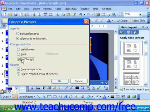 PowerPoint 2003 Tutorial Compressing Pictures 2003 & XP Microsoft Training Lesson 9.12