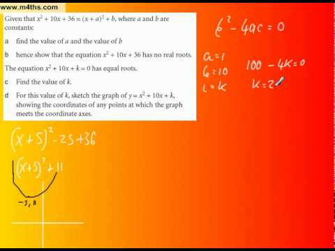Typical C1 exam question on completing the square and discriminant