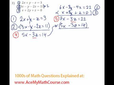 Systems - 3 Equations and 3 Variables #3