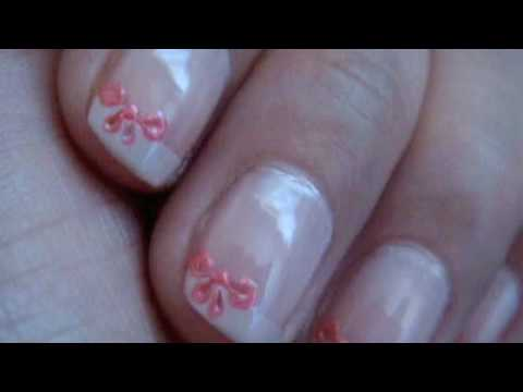 Ribboned French Tip: How to make Small Bows