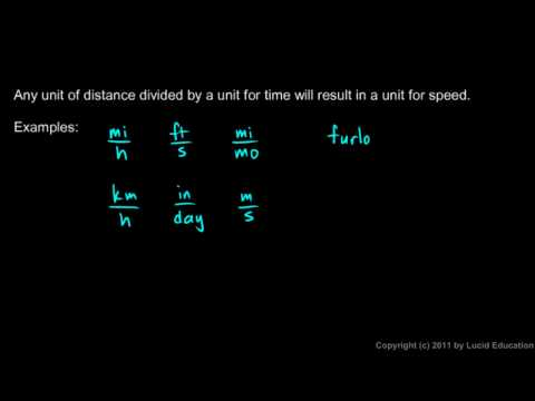 Physical Science 1.2e - Units for Speed