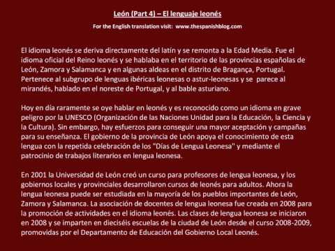 Spanish English Parallel Texts León (Part 4) El lenguaje leonés