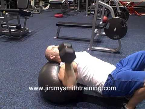 Single Arm Dumbbell Chest Press on Stablility Ball