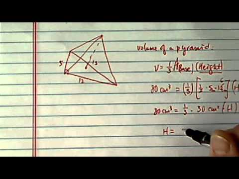 volume of a pyramid: volume is 80cm^3, base is a triangle, find height