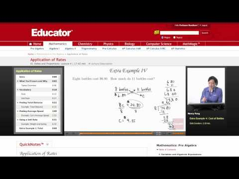 Pre Algebra: Application of Rates