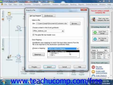 QuickBooks 2011 Tutorial Advanced Importing of Data Intuit Training Lesson 26.3