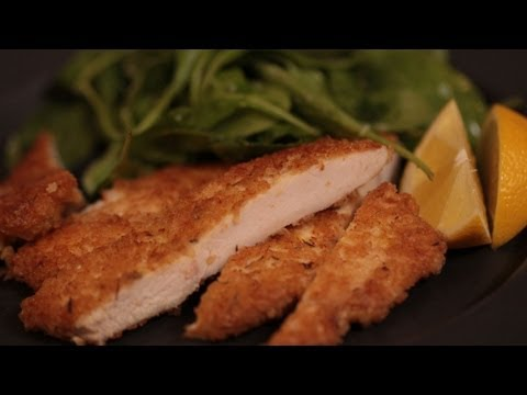 Panko Chicken Recipe + Lemon, Argula Salad (Homemade Chicken Fingers)  || KIN EATS