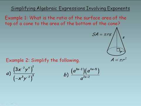 Simplifying Algebraic Expressions Involving Exponents