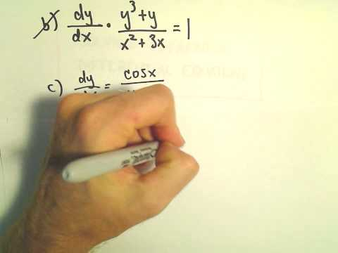 Solving a Separable Differential Equation, Another Example #3