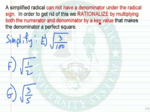 Simplify Expressions Involving Numeric Radicals