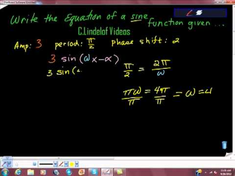 Write the Equation of a sine Function Given characteristics