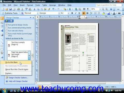 Publisher Tutorial Using the Design Checker Microsoft Training Lesson 9.5