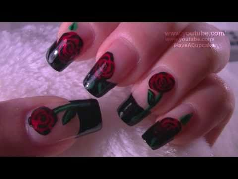 Rose French Tip Nail Art Tutorial / Arte para las unas  de rosas