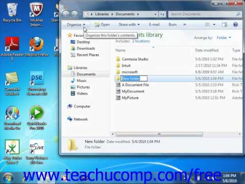 Windows 7 Tutorial Creating a New Folder Microsoft Training Lesson 6.5