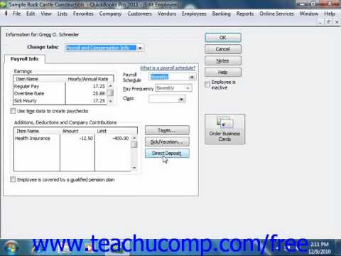QuickBooks 2011 Tutorial Setting Up Employee Payroll Information Intuit Training Lesson 20.4