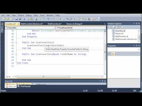 Visual Basic Tutorial - 191 - Favorites Part 4   Creating The Favorites Class