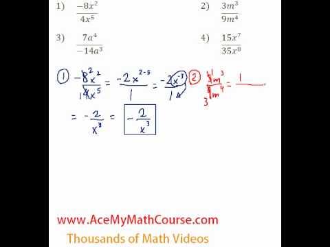 Polynomials - Dividing Monomials #1-4