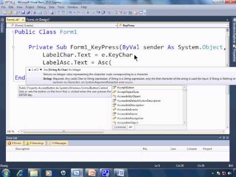Visual Basic 2010 Express Tutorial 16 - ASCII Tables and Values