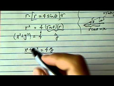 Polar Equation: Convert  to rectangular form r = 4sinΘ