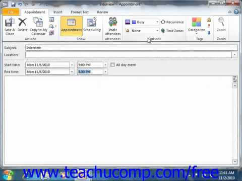 Outlook 2010 Tutorial Setting an Appointment Microsoft Training Lesson 6.6