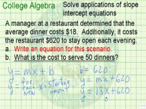 Solve Applications of Slope Intercept Equations