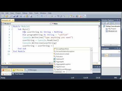 Visual Basic Tutorial - 18 - Concatenate Strings