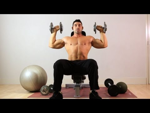 Seated Overhead Dumbbell Press | Home Arm Workout for Men