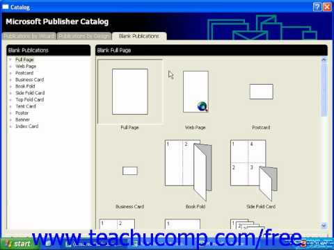 Publisher 2003 Tutorial Creating a Blank Publication 2000 Microsoft Training Lesson 1.9