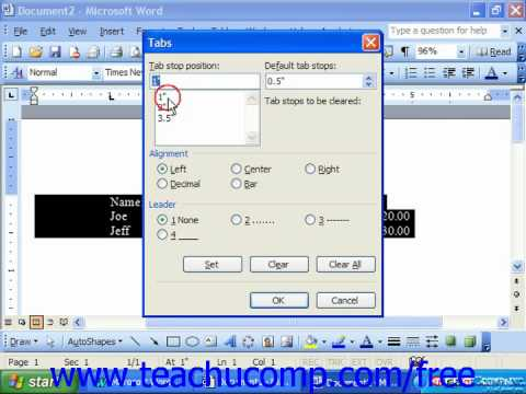Word 2003 Tutorial Removing & Clearing Tabs Microsoft Office Training Lesson 11.2