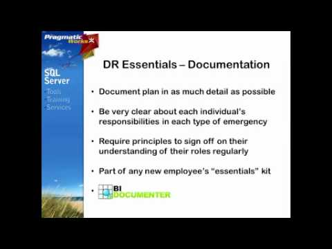 SQL Training - Disaster Recovery for the SQL Server BI Professional