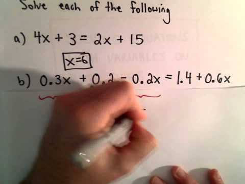 Solving a Linear Equation with Variables on Both Sides of the Equation, Ex 2
