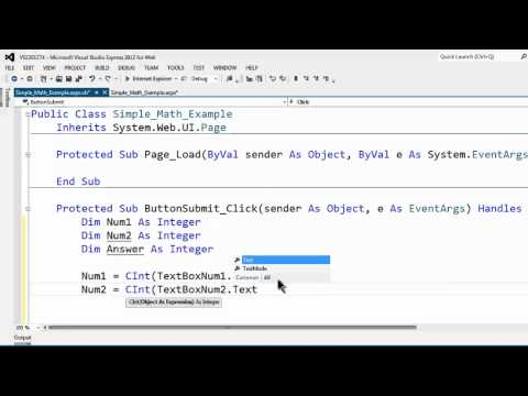 Visual Studio Express 2012 For Web Tutorial 4 Variables Data Types And Conversions