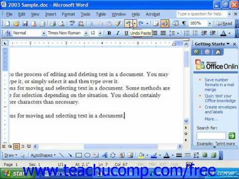 Word 2003 Tutorial The Undo Button Microsoft Training Lesson 3.3