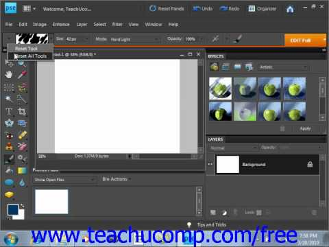Photoshop Elements 9.0 Tutorial Resetting Brush & Tool Settings Adobe Training Lesson 7.5
