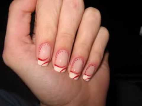 Tutorial - French manicure with red lines and dots